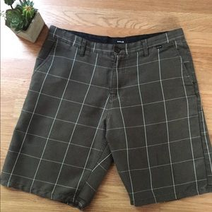 Hurley Green/White Plaid Shorts